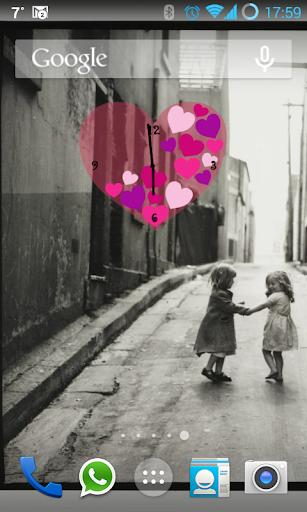 Pink Love Heart Clock Widget