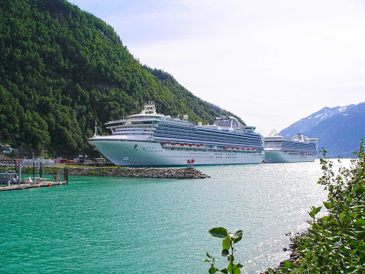 The ships Pacific Princess and Diamond Princess in Skagway, Alaska.
