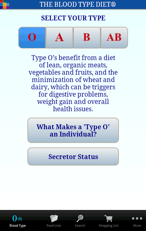 The Blood Type Diet®- screenshot