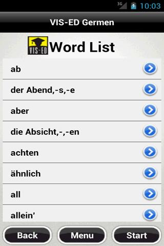 VIS-ED German Flash Card App