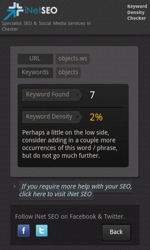 Keyword Density Checker (SEO)- screenshot