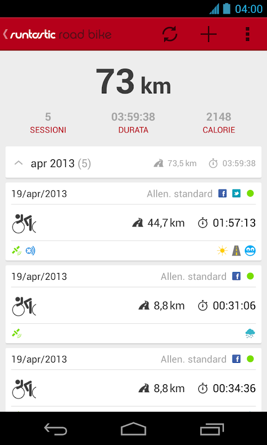 Runtastic Road Bike PRO - screenshot