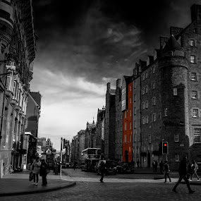 by Andrew Percival - City,  Street & Park  Street Scenes ( sky, edinburgh, selective color, street, architecture, people, street photography,  )