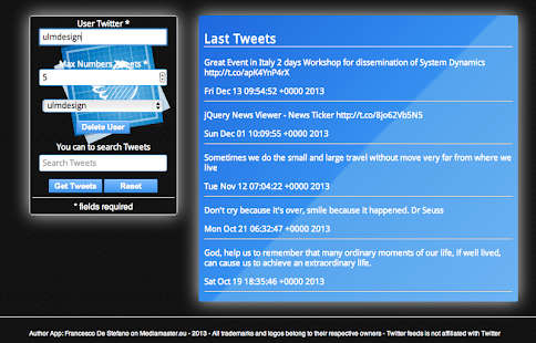 Twitter Feeds - screenshot thumbnail