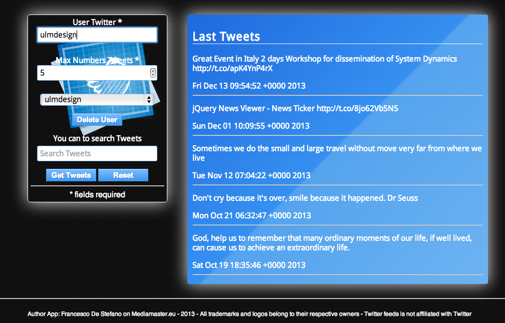 Twitter Feeds - screenshot