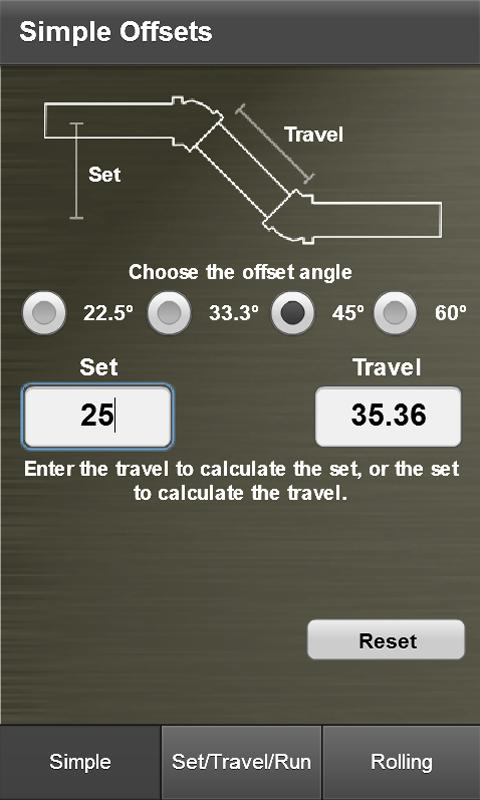 Pipe Offset Calculator- screenshot