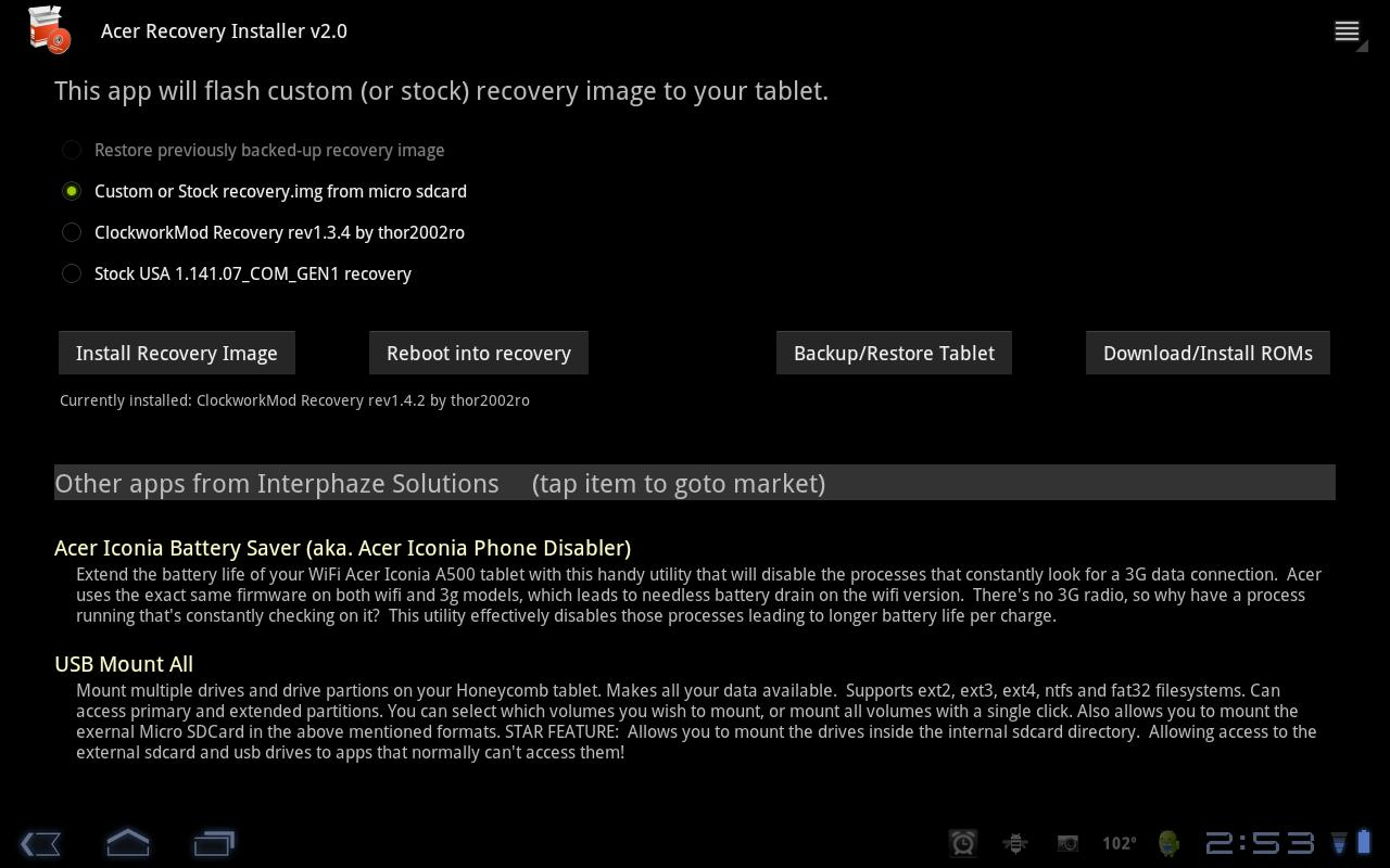 Acer Recovery Installer - screenshot