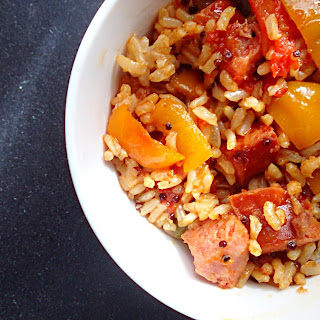 Cajun Peppers & Rice With Kielbasa