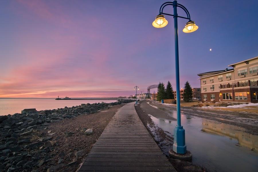 Shoreline Boardwalk by Gary Hanson - City,  Street & Park  Historic Districts ( duluth, north shore, lake superior, walk, boardwalk,  )