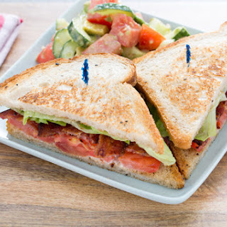Classic B.L.T. Sandwiches with Tomato, Avocado & Cucumber Salad