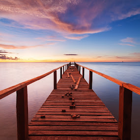 Heading line by Christianto Mogolid - Buildings & Architecture Bridges & Suspended Structures ( background beach, hetty, blue hour, sunset with jetty, background, cloud formation, bridge, beautiful beach, sunset bacground, golden hour )