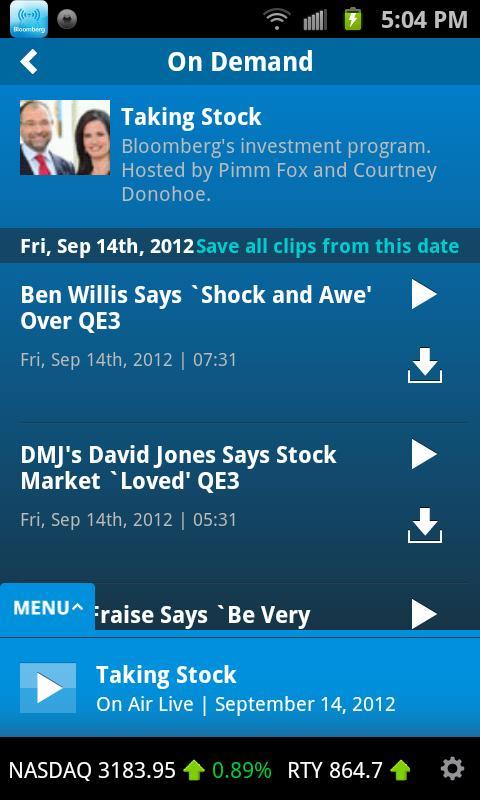 Bloomberg Radio+- screenshot