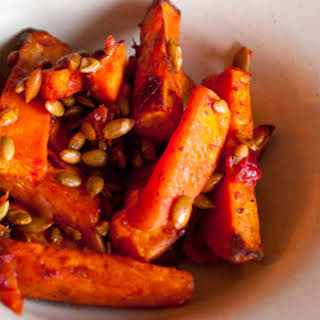 Roasted Sweet Potatoes with Cranberry-Chipotle Sauce.