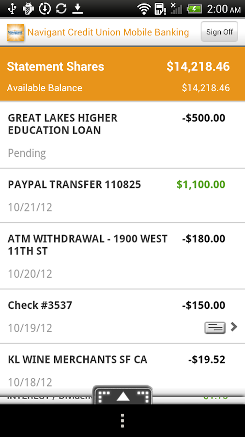 Navigant Credit Union Mobile - screenshot