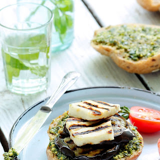 Grilled Eggplant Burgers with Halloumi Cheese.