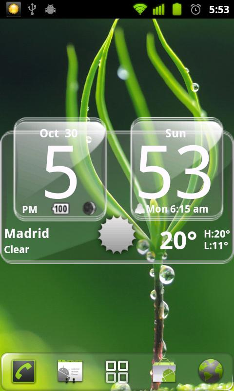 Sense Analog Glass Clock 4x2- screenshot