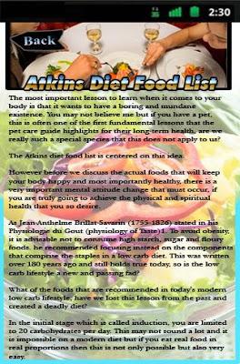 Atkins Diet Food List - screenshot
