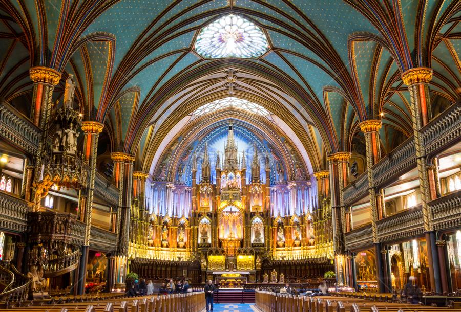 La Basilique Notre-Dame de Montréal by Michael Sharp - Buildings & Architecture Places of Worship ( sculpture, montreal, altar, church, canada, columns, cathedral, gold, balcony, notre dame basilica of montreal )