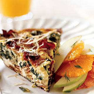 Frittata with Bacon, Fresh Ricotta, and Greens.