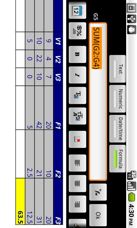 e-Droid-Cell Light Spreadsheet - screenshot