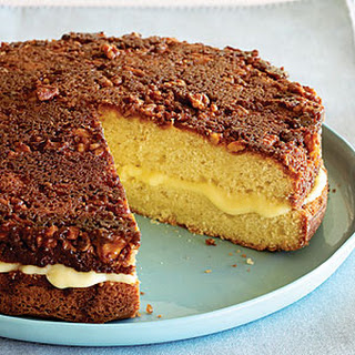 Custard-filled Walnut-topped Cake.