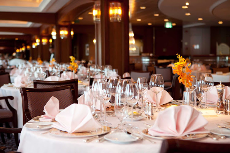 The tastefully appointed Crystal dining room aboard Crystal Serenity.