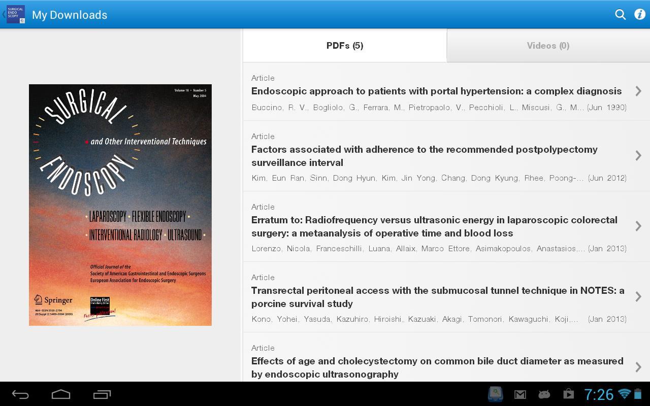 Surgical Endoscopy - screenshot