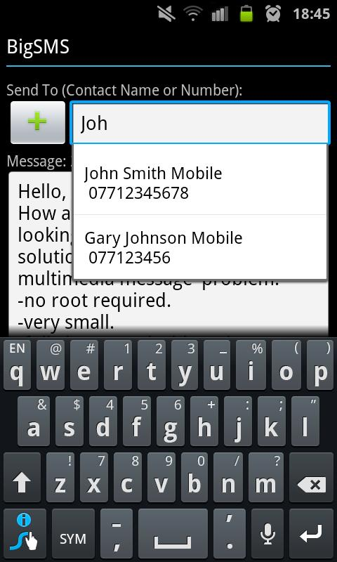 BigSMS (Send Long SMS)- screenshot