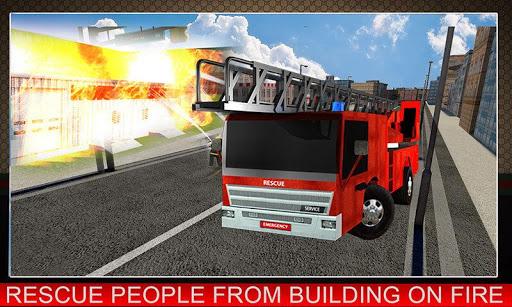 911救援的消防队员卡车