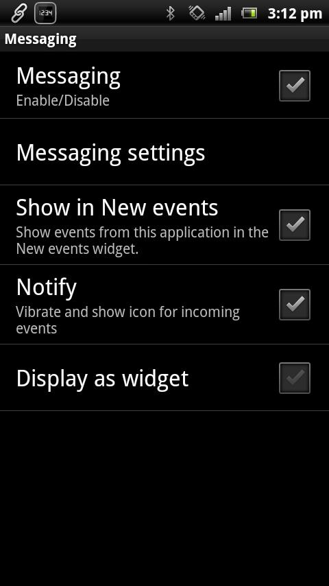 Messaging smart extension - screenshot