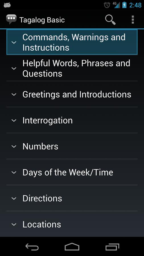 Tagalog Basic Phrases- screenshot