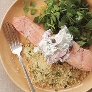 Poached Salmon with Parsley Couscous.