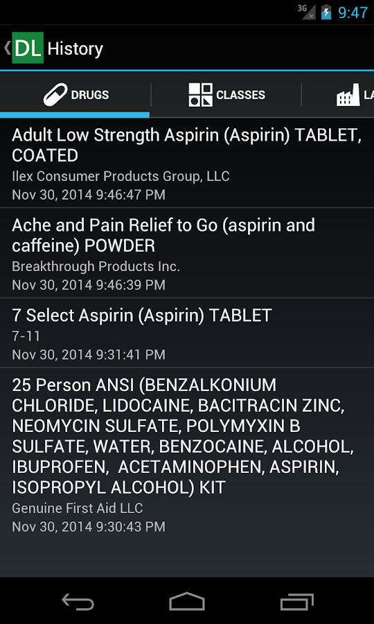 Drug Label Reference- screenshot