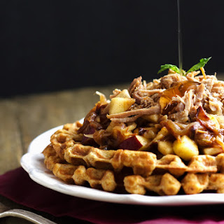 Skinnier Cornbread Waffles With Pulled Pork And Maple Apple Chutney