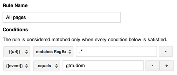 all pages rule where event equals gtm.dom