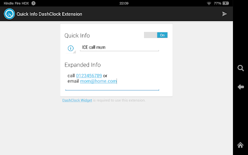 Quick Info DashClock Extension- screenshot thumbnail