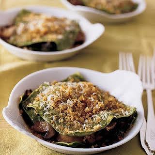 Individual Mushroom Lasagnas with Crispy Breadcrumbs.
