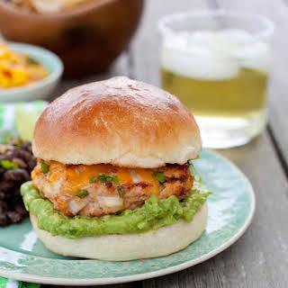 Jalapeño Cheddar Chicken Burgers with Guacamole.