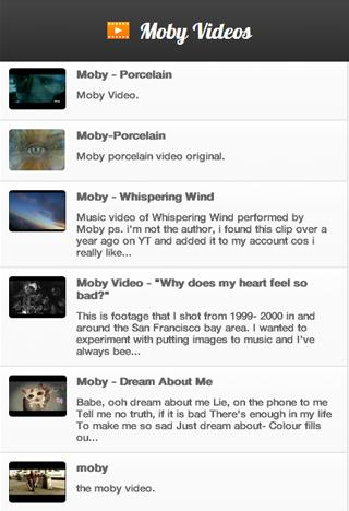 Moby Videos - screenshot