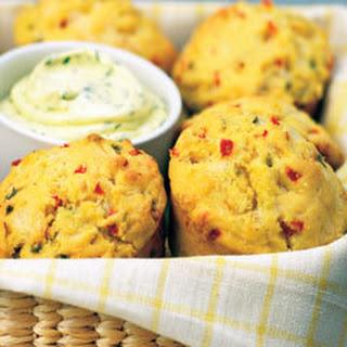 Cornmeal Muffins With Cilantro Spread.