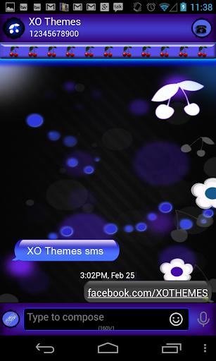 GO SMS Theme Blue Bokeh Cherry