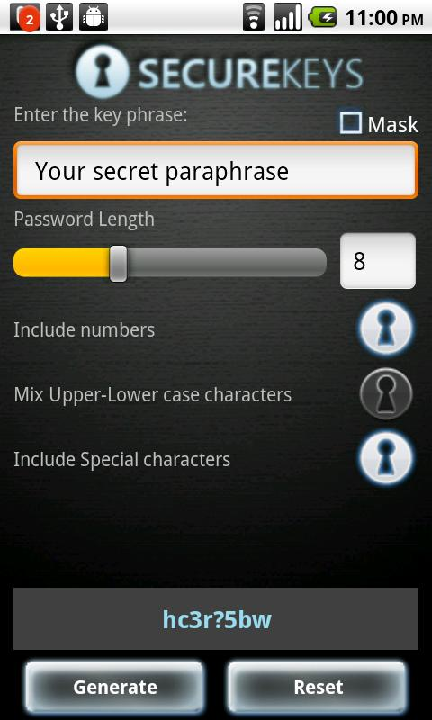 Securekeys - screenshot
