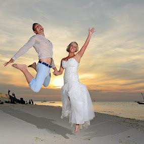 Jump by Andrew Morgan - Wedding Bride & Groom ( zanzibar, wedding, sea, island, jump )