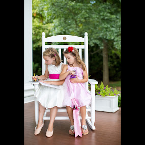 Coloring while Rocking by Mike Lesnick - Babies & Children Children Candids ( little girls, wedding, coloring book, pink, rocking chair )