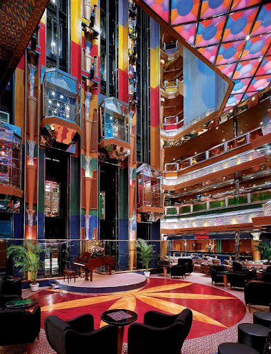 Carnival-Glory-Colors-Lobby-2 - Sit with a friend, a drink and some live piano music in Carnival Glory's vibrant Colors Lobby.