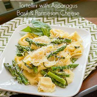 Tortellini with Asparagus, Basil & Parmesan Cheese.
