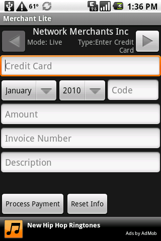 Credit Card Swiper - screenshot