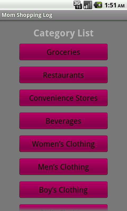 Mom Shopping Log - screenshot