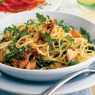 Spaghetti With Hot-smoked Salmon, Rocket & Capers.