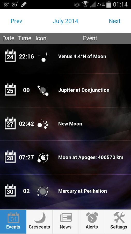 Astronomy Events with Push- screenshot